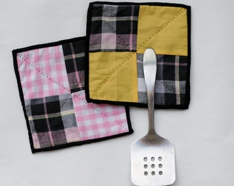 2 Potholders - Pink Yellow and Black Madras - Handquilted