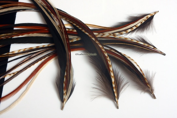 Brown Feather Hair Extension Kit Beauty Hair Kit Long Feather Extensions Natural Feathers for Hair Jewelry Hair Care Accessories for Hair