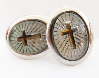 Vintage jewelry cuff links religious cross cuff links