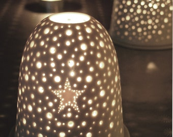Small Xmas Pierced Star Tea light holder. Winter Night light Porcelain Candle holder