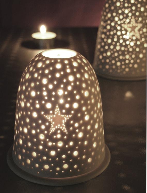 Small Xmas Pierced Star Tea light holder. Winter Night light Porcelain Candle holder