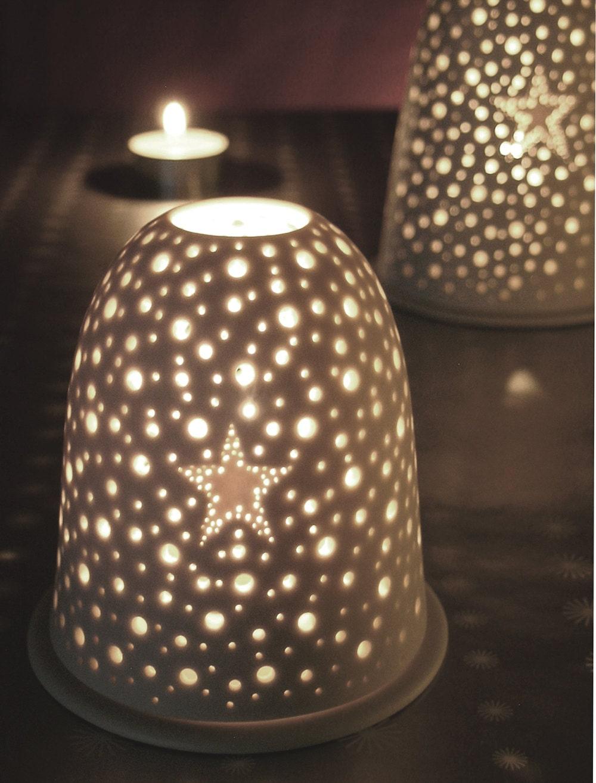 Small Xmas Pierced Star Tea Light Holder Winter Night Light