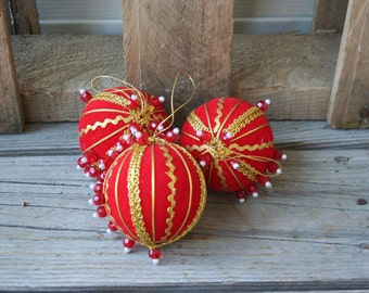 Set of Three Vintage Red & Gold Christmas Ball Ornaments