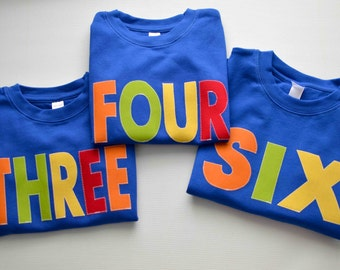 Primary Color Boys Birthday Shirt Kids Long or Short Sleeve Royal Blue Orange Green Yellow One Two Three Four Five Six Seven Eight Tshirt