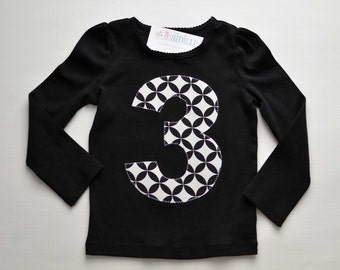 Girls 3rd Birthday Shirt, Black and White, Number 3 Applique Tshirt, Ready to Ship, Long Sleeve, Size 3T, Third Birthday Shirt, Classic