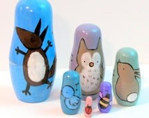 Etsy Woodland Nursery Nesting Dolls, Hand Painted Whimsical Animal Art Dolls, fox, rabbit, owl, bee, bird, ladybug, made to order