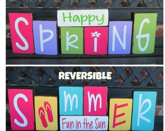 REVERSIBLE Spring and Summer wood block-Summer fun in the Sun reverses with Happy Spring