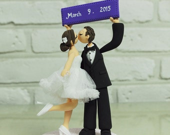Custom Wedding Cake Topper - Groom's Holding Banner and Kissing with Bride -