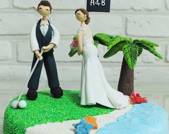 Golfer beach wedding custom wedding cake topper decoration