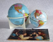 """Vintage 6"""" Replogle Earth Globe with Stand, Vintage Blue Earth Globes, Mid Century Terrestrial Globe Desk Library Dorm Office Decor"""