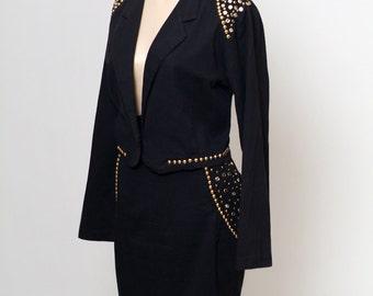 Vintage 80s 2pc Black Denim Jeans Jacket Skirt Suit / 80s Black Suit / 90s NYC / 2 piece set