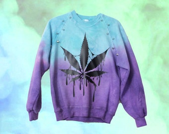 Custom Made - Dyed Marijuana Spiked Studded Sweatshirt