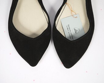 Ballet Flats Shoes Pointy Black Leather Slip on Ballerinas