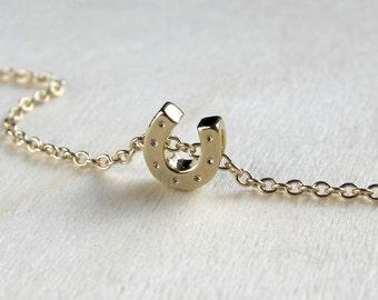 Gold Horseshoe necklace, good luck charm necklace, tiny, minimal jewelry.