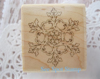 Snowflake Stamp Christmas stamp Ornate Snowflake Fancy ironwork Florentine snowflake wood mount single snowflake w 2