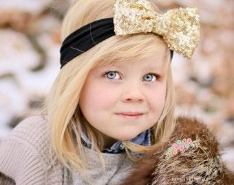 Gold Baby Headband, Gold Bow Headband, Baby Headbands, CHOOSE COLOR baby headband, Newborn Headband, Baby Girl Headband, Gold Bow Headband.