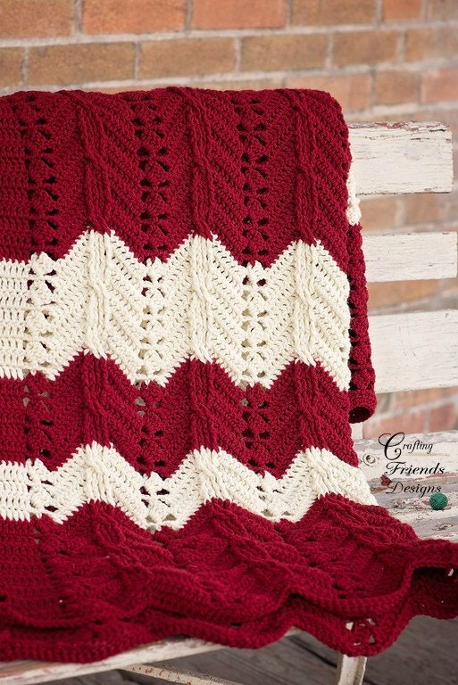 Georgia Afghan Knitting Pattern : Crochet Pattern, Classic Cable Chevron Afghan Textured ...