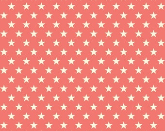 TRENDSETTER STARS in Coral c3993- Riley Blake Designs Cotton Quilting Fabric - By the Yard