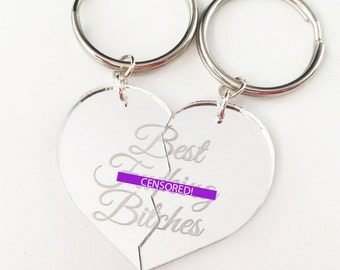Best F-cking Bitches - Friendship Key Ring Key Chain Set - Silver Split Heart