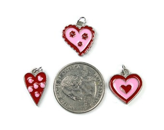 Enamel Pink Red Hearts Charms Set of 6