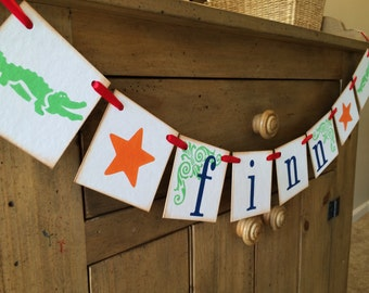 Alligator Room Decor With Star / Personalized Boy Name Banner / Boy Alligator and Star Baby Shower Banner