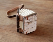 mini birch bark journal - small handmade wood book - woodland rustic miniature wood book - READY TO SHIP