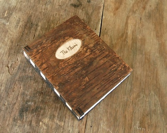 custom cabin or wedding guest book tree bark cover - personalized rustic engraved wood book unique wedding anniversary gift -made to order