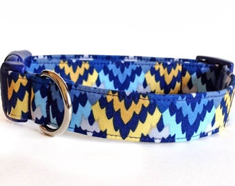 Dog Collar / Ikat Dog Collar / Aztec Dog Collar / Southwest Dog Collar / Blue Yellow Dog Collar / Navy Dog Collar