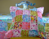 Twin Size Rag Quilt with Pillow Sham, insert included, Kaffe Fassett, Shabby Chic