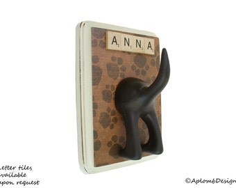 Leash Holder - Single Tail -  Paw Paws - Personalize it with Optional Letter Tiles