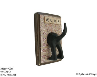 Dog Tail Leash Holder  - Bones, Bones, Bones - Personalize it with Optional Letter Tiles