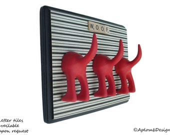 Leash Holder - Triple Tail - Cream Stripes - Personalize with Optional Letter Tiles