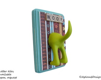 Dog Tail Leash Holder  - Paws, Bones and Dogs OH MY  -  Customize it with Optional Letter Tiles