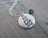 "Inspiration Necklace- ""til my last day"" with an accent bead in your choice of colors- Hand-Stamped Jewelry"
