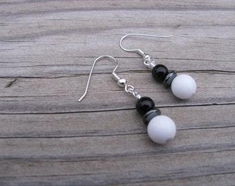 White, Black, Hematite Beaded Earrings