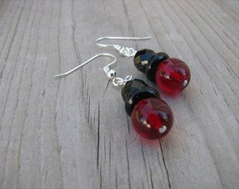 Red and Black Glass Beaded Earrings