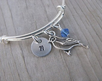 Bird Bangle Bracelet- Adjustable Bangle Bracelet with Hand-Stamped Initial, Bird Charm, and accent bead