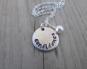 "Confidence Inspiration Necklace- ""confidence"" with an accent bead in your choice of colors- Hand-Stamped Jewelry"