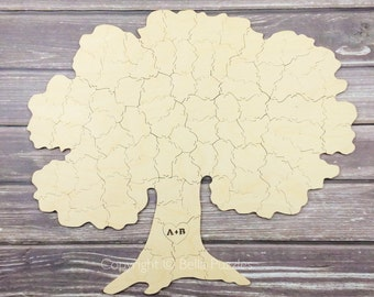 100 pc Wedding Guest Book Puzzle, guestbook alternative, wood TREE puzzle guest book, Bella Puzzles™. Rustic barn bohemian wedding.