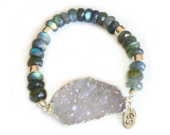Labradorite & Druzy Bracelet Silver-beaded bracelet, druzy jewelry, boho