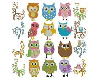OWLS 1 - Machine Embroidery - Instant Digital Download
