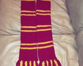 Hand Knit Harry Potter Inspired scarf, double Thick, Chunky, Halloween, Cosplay
