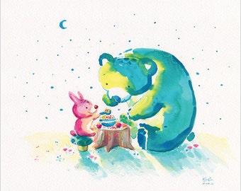 Watercolor Bear Print, Bear Art with Rabbit- My Beary Berries Friend - 8x10 - Kids Wall Decor, Green Bear, Tea Party, Cute Bear, Nursery Art