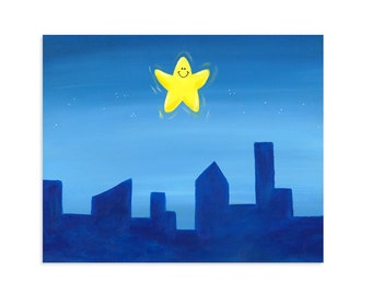 Nursery Rhyme Print - Twinkle Twinkle Little Star - Cityscape Art
