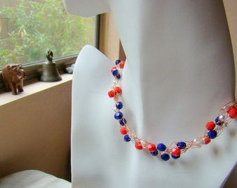 Red White and Blue Crochet Necklace // Beaded Necklace Czech glass beads // Crochet Bead Necklace // Crochet Jewelry - CR0002
