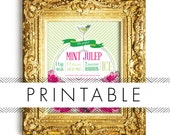 Derby Mint Julep Bar Signs Printable in Pink