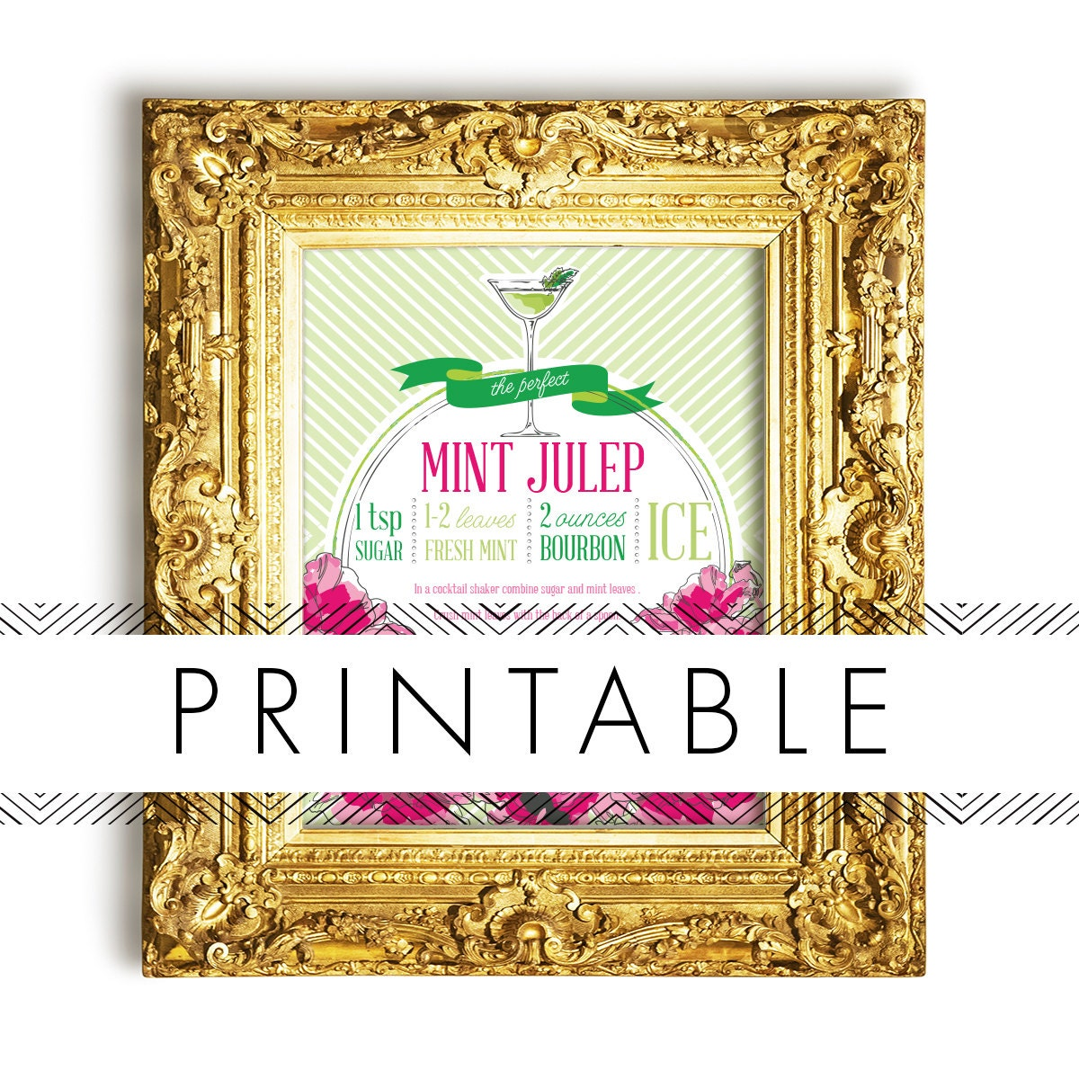 12 Cool Kentucky Derby Inspired Home Decor Ideas: Derby Mint Julep Bar Signs Printable In Pink