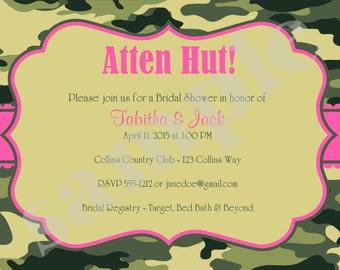 Camouflage Bridal Shower Invitation Invite Army green military DIY printable DIgital