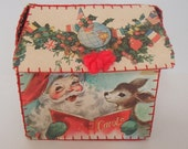 Vintage Handmade Christmas Card House Shaped Box