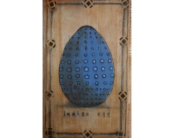 SALE Egg art original handmade blue painting on wood gift mixed media